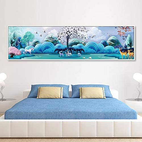 5D Diamond Painting Elk Full Diamond Embroidered Landscape Living Room Plaster Cross Stitch Bedroom Bedside Painting 250X75Cm