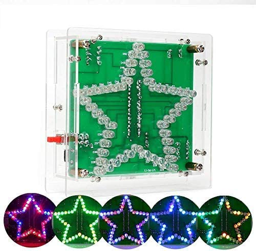IS Electronic DIY Soldering Practice Assemble Kits, ICSTATION, Star Shape LED Flashing Lights Set, with Acrylic Board, Fit for Electronic Enthusiast, Soldering Learning Beginner