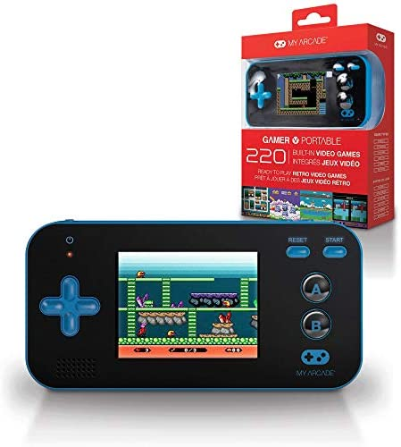 My Arcade Gamer V Portable - Handheld Gaming System - 220 Retro Style Games - Lightweight Compact Size - Battery Powered - Full Color Display - Volume Buttons - Blue