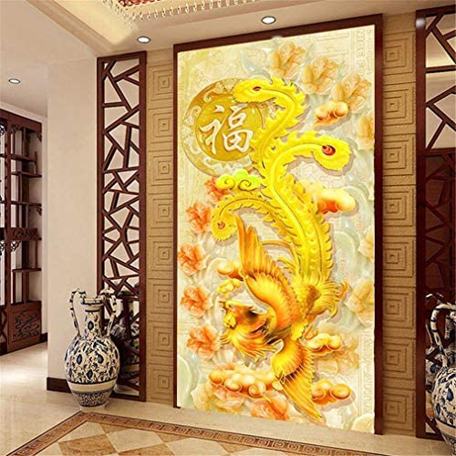 RAILONCH Large DIY Golden Phoenix 5D Diamond Painting by Number Kit Full Drill Rhinestone Embroidery Wall Decor (200x80cm)