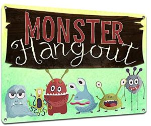 Monster Hangout, 9 x 12 Inch Metal Sign, Hanging Wall Decor and Accessories for Playroom, Treehouse, Nursery, Game Room, Bedroom, Gifts for Kids, Toddlers, Boys, Girls, Birthday, RK3114 9x12