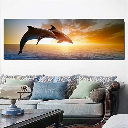 DIY 5D Diamond Painting Large Size Dolphins On The Water Diamond Embroidery Kit Rhinestone Painting Cross Stitch Kit Wall Art Decor Round Drill 80x220cm H7613