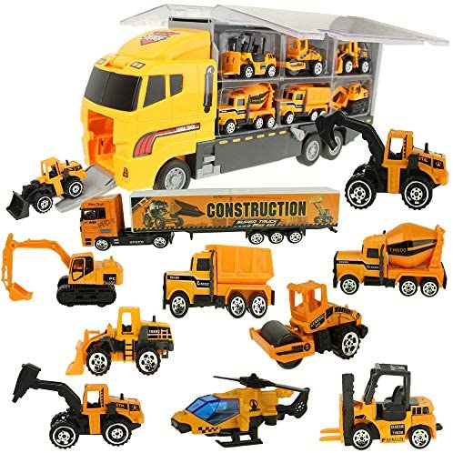 Jenilily Construction Truck Vehicle Container Car Toy Set Trucks Excavator Cement Truck Dumper Bulldozer Forklift Road Roller for Children Kids (12 in 1)
