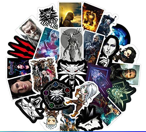 Video Game Themed The Witcher 50 Piece Sticker Decal Set for Kids Adults - Laptop Motorcycle Skateboard Decals