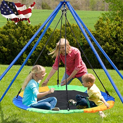 Kuerqi (Shipping by US)Saucer Tree Swing Flying 660lb Multi-Strand Ropes Colorful and Safety Swing Green Outdoor Baby, Children & Toddler Swing Set Accessories For The Playground, Backyard. (AS show)