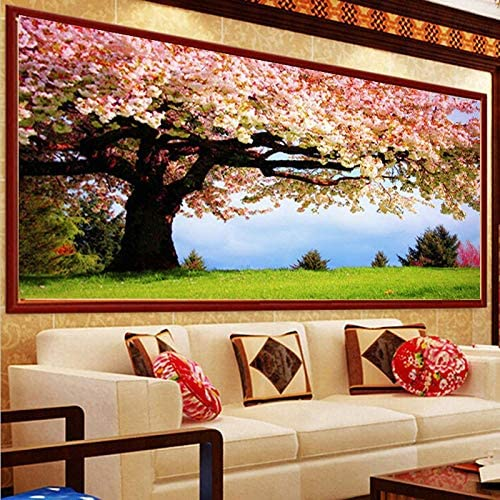 5D Diamond Painting Full Drill Pink Flower Tree DIY Kits for Adults Kids Crystal Rhinestone Arts Craft for Home Wall Decor Square Drill 80x220cm H12132