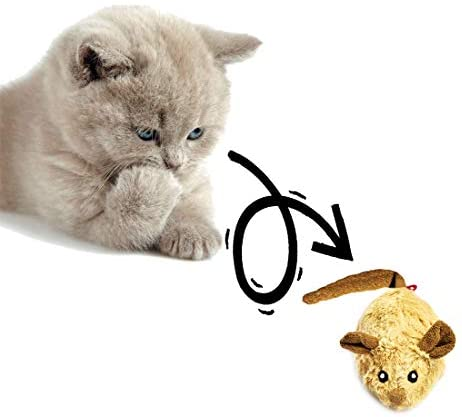Vealind GiGwi Automatic Moving Mouse Toy for Cats with Rattling Sounds(Coffee-Ear)