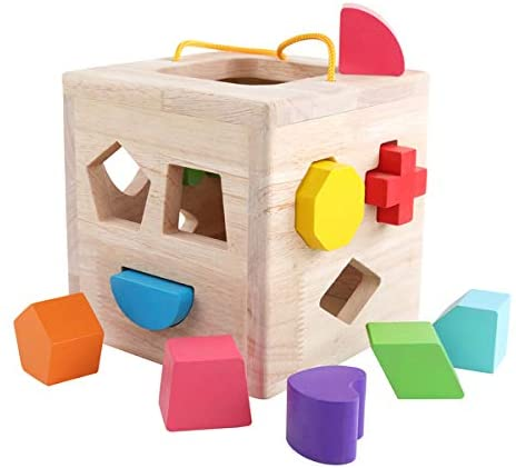 GEMEM Shape Sorter Toy My First Wooden 12 Building Blocks Geometry Learning Matching Sorting Gifts Didactic Classic Toys for Toddlers Baby Kids 2 3 Years Old