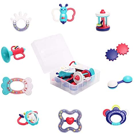 Happytime Rattle Teether Set Baby Toys Baby 10pcs Shaker, Grab, Shaking Bell Rattle Set BabyToys for Newborn Infant with Storage Box Gift for 3 6 9 12 18Month
