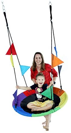 CharaVect Swing for Kids Adults Large Size and Durable Tire Tree Flying Easy Install Bonus Protective Swing Cover and Flags Swing Outdoor Play Equipment with Hanging Straps Resistance Waterproof,Rain