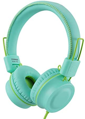 POWMEE M2 Kids Headphones Wired Headphone for Kids,Foldable Adjustable Stereo Tangle-Free,3.5MM Jack Wire Cord On-Ear Headphone for Children/Teens/Girls/School/Kindle/Airplane/Plane/ (Mint Green)