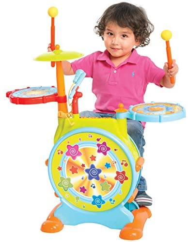 Best Choice Products Kids Electronic Toy Drum Set w/ Adjustable Sing-Along, Microphone, Stool, Drumsticks