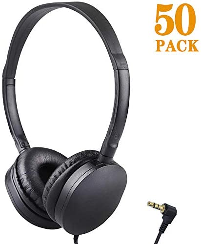 Bulk Headphones Wholesale Earbuds Earphones 50 Pack for Kids School Classroom Students Children and Adult (50 Black)