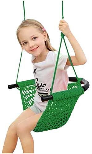 Lazapa Tree Swing Seat for Kids, Rope Swing Tree Swing Seat for Kids Indoor Door Outdoor Backyard Hammock Chair Cotton Weave Tree Rope Swing Seat for Kids (Green)