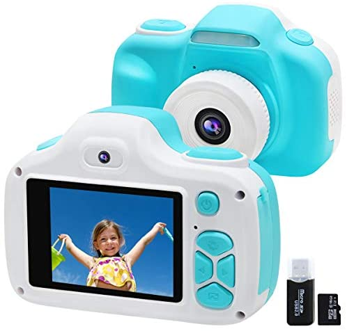 Kids Camera for Boys Girls Gifts, Video Selfie Digital Cameras for Children 3-12 Years Old, Shockproof Mini Learning Toys Cameras for Children's Day Birthday (Blue)