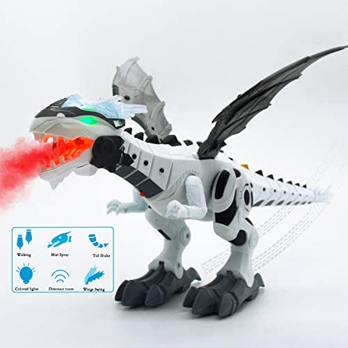 Electronic Walking Spray Dinosaur Toys for Kids Boys Girls Birthday Christmas Party Gifts - Spray Dinosaur with Lights Eyes & Roaring Sounds & Swinging Tail Action