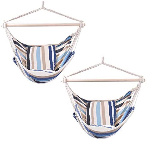 Giantex Hammock Swing, Hanging Rope Hammock Chair with 2 Cushions for Patio Porch Yard Tree C Hammock Stand, Cotton Hanging Air Swing (2, Beige and Blue Multicolor Stripes)