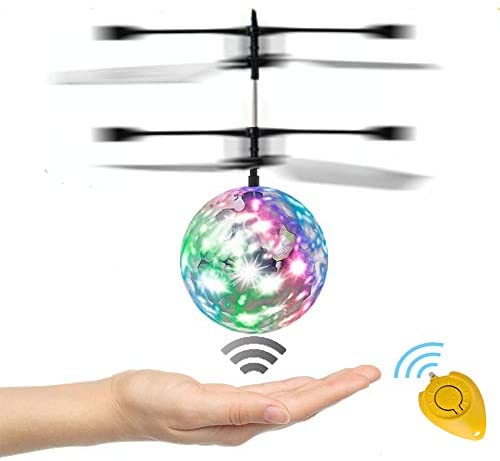 RC Flying Ball, WEKITY Hand Spinner Drone Helicopter Ball Built-in Shinning LED Lighting Flashing Light Aircraft Helicopter Induction Toy Electronic Light-Up Toys for Kids Teenagers