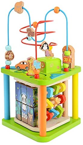 ZONXIE Wooden 4 in 1 Baby Activity Play Cube Bead Maze Toys Activity Center for Babies Toddlers Educational Early Preschool Learning Toys