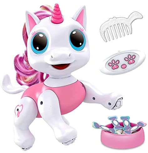 Power Your Fun Robo Pets Unicorn Toy - Remote Control Robot Pet Toy, Interactive Hand Motion Gestures, Walking, and Dancing Robot Unicorn Toy