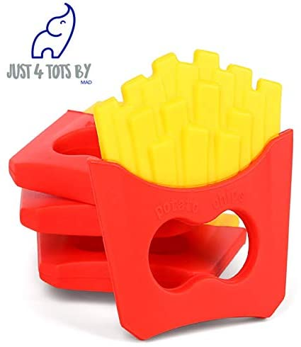 French Fry Toy Baby Teething Toys | Self-Soothing Pain Relief Soft Silicone Teether for Infants | Natural Organic BPA Free | 0-36 Months |