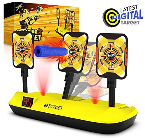 Phaxcoo Electronic Shooting Target Scoring Auto Reset 3 Digital Targets for Nerf Guns Blaster