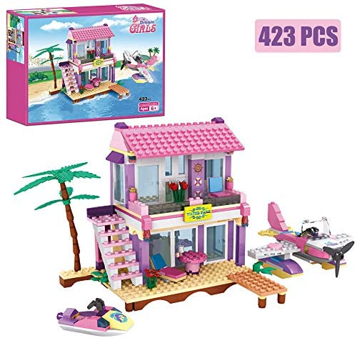 Dream Girls Building Blocks Toys Friends Building Set Big Beach Villa with Plane and Jet Ski Fun Preschool Educational toys for Boys and Girls 423Pcs