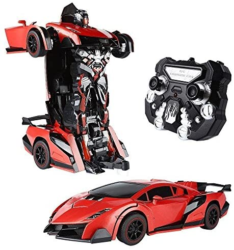 SainSmart Jr. Transform Car Robot, Electronic Remote Control RC Vehicles with One Button Tranforming & Realistic Engine Sound (Red)