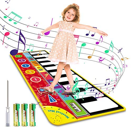Magicfun Kids Musical Mat, Musical Piano Mat 8 Instrument Sounds 5 Play Modes with 3AA Batteries and Screwdriver Set Dance and Learn Mat for 2 3 3+ Year Old Boy Girl Toys 58.26