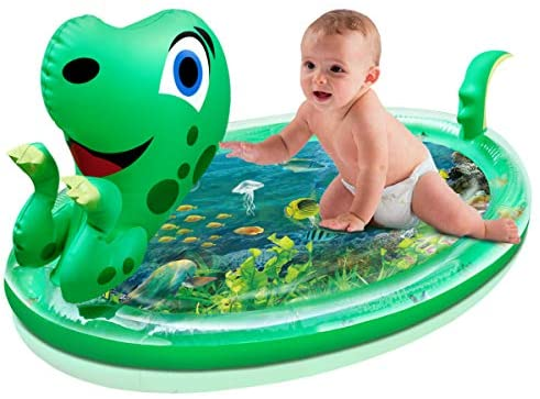 OPOLEMIN Upgrade Tummy Time Mat, Baby Water Mat X-Large 47''x29'' 3D Dinosaur Shape Infants Toy Fun Activity Play Center for 3-9 Months Newborn Boy & Girl Growth Brain Development BPA-Free