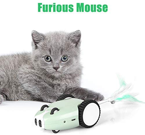 Bojafa Robotic Smart Cat Interactive Toys with 5 Feather for Indoor Cats and USB Rechargeable Automatic Irregular Cat Electronic Toy Mouse Shape for Cats Kitten Exercise Toys