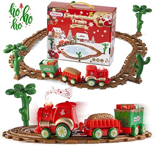 Prextex Kids Christmas Train Around The Tree Musical Christmas Train Set for Kids