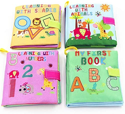 Little Bado Baby Books 4 Set Early Learning Development Toy for Babies ABC 123 Shapes Animals Toddler with Peekaboo Flap for 8 9 Month 1 2 Year Old Baby Interactive Boy Girl