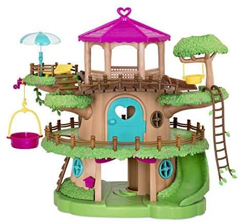 Li'l Woodzeez Family Treehouse with Crank Elevator – 22pc Playset with Ladders, Slides, and Stairs – Toy Houses and Playsets – Gifts for Kids Age 3+