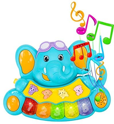 STEAM Life Educational Baby Piano - Musical Toy Piano - Mini Light Up Crib Toddler Piano - Light Up Toy Keyboard has 5 Numbered Keys - Plays Songs and Music Memory Game (Smart Baby Elephant Piano)