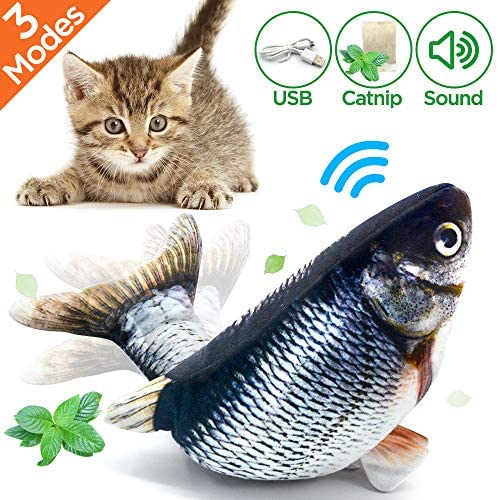 Coluans Fish Cat Toys Electronic Fishy Catnip Toys for Cats Plush Kitty Interactive Chewing Toy with Catnip Powder Bag Cat Scratcher Toys
