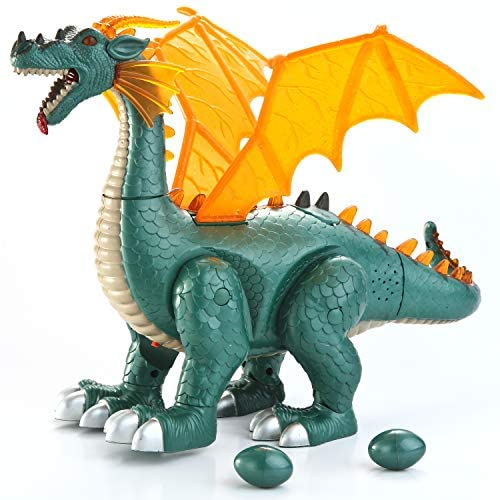 JOYIN Walking Realistic Toy Electronic Dragon Dinosaur with Roaring Sounds and 2 Eggs Laying
