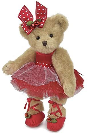 Bearington Clara Ballerina Christmas Plush Stuffed Animal Teddy Bear, 14 inches