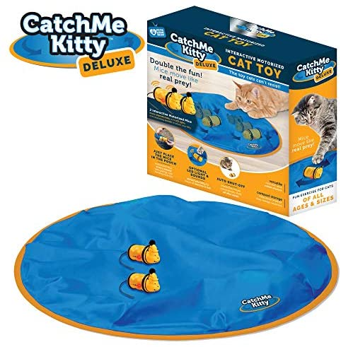 Catch Me Kitty- Interactive Cat & Mouse Toy, 2- Electronic Mice with Unpredictable Movements, 15 Minute Auto Shut Off, Optional Light & Sound to Attract your Cat for Hours of Play, Exercise & Fun!