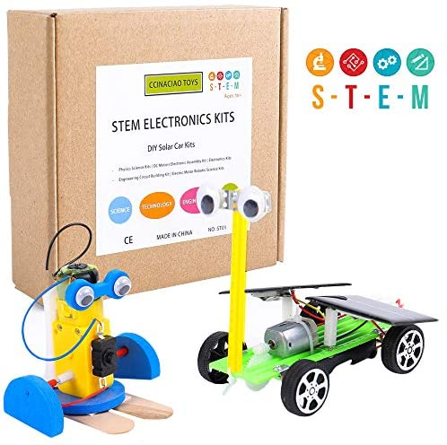 CCinaCiao Robotic Science Kits for Kids, DC Motors Electronic Assembly Kit, DIY Solar Car Kits, STEM Kits for Boys and Girls, Kids Science Experiment Kits(2 Kits)