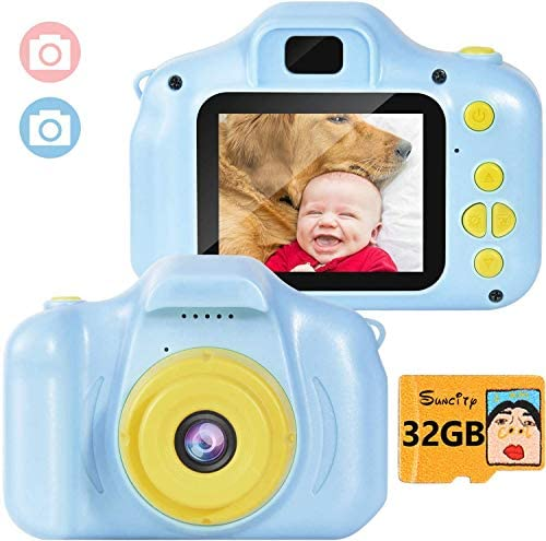 Suncity Kids Camera Boy Toys Gifts for 2-8 Year Old Camcorder 2.0 Inch Screen with 32GB Card for Children Toddler Birthday Christmas (Blue)