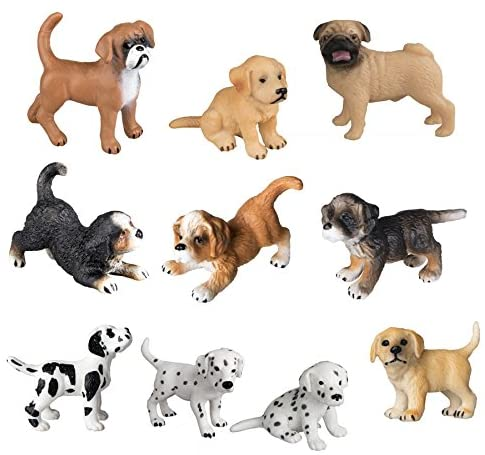 TOYMANY 10PCS Dog Figurines Playset, Realistic Detailed Plastic Puppy Figures, Hand Painted Emulational Dogs Animals Toy Set, Cake Toppers Christmas Birthday Gift for Kids Toddlers