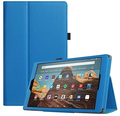 Fintie Folio Case for All-New Amazon Fire HD 10 Tablet (Compatible with 7th and 9th Generations, 2017 and 2019 Releases) - Premium PU Leather Slim Fit Stand Cover with Auto Wake/Sleep, Blue