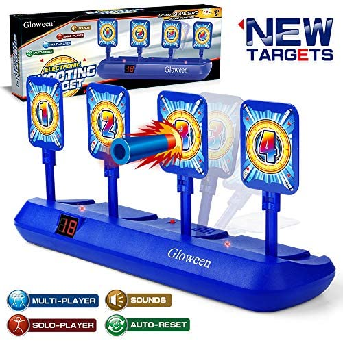 Gloween Upgraded Electronic Shooting Target Scoring, Auto Reset Digital Targets Compatible with Nerf Guns Toys, Ideal Gift Toy for Age of 5,6,7,8,9,10+ Years Old Kids, Boys & Girls