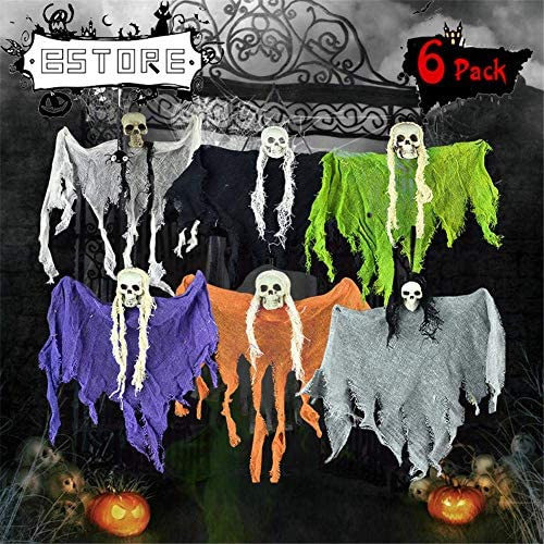 BSTORE Hanging Screaming Ghost Decoration - Halloween Ghost Hanging Ornaments Festival Small Skull -Halloween Skeleton Grim Reaper for Haunted House Prop Décor (6 Pack)